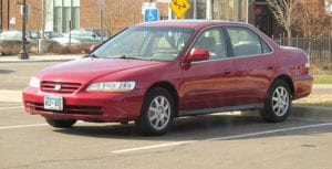Photo red 2002 honda accord with dangerous takata airbag