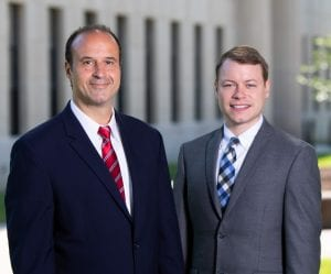 West Virginia personal injury lawyers Brooks West and David Dobson outside of WV Capitol